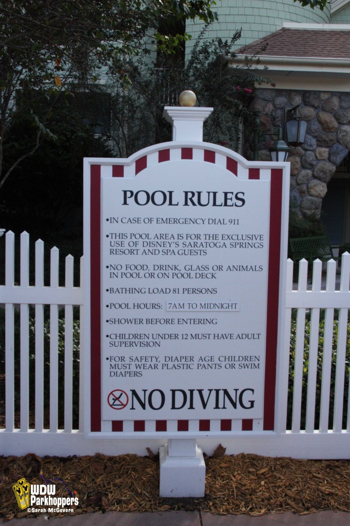 Pool Rules Sign at Disney's Saratoga Springs Resort